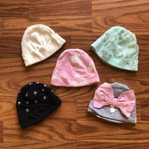 Pack Of 5 Hats For Newborns Pink Cream Pink Clouds
